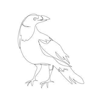 Kauw een lijn kunst. doorlopende lijntekening van halloween-thema, gothic, ornithologie, eng, vogel.