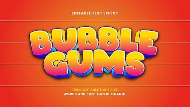 Kauwgom bewerkbaar teksteffect in moderne 3d-stijl
