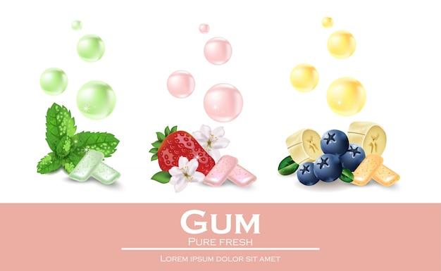 Kauwgom met verschillende smaken