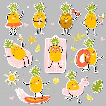 Kawaii ananasstickers die genieten van zomeractiviteiten.