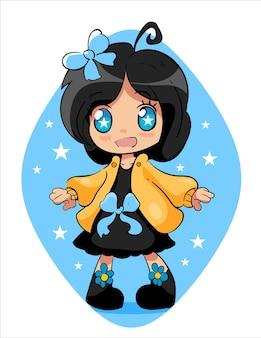 Kawaii animemeisje in sterren