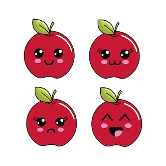 Kawaii apple diferents faces icon