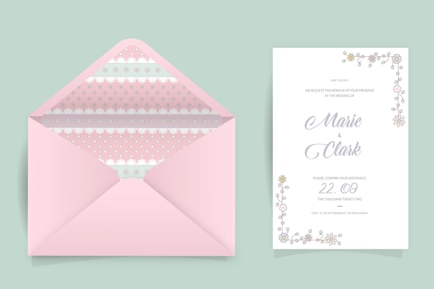 Kawaii bloemen bruiloft uitnodigingskaart, bewaar de datumsjabloon.