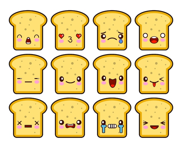 Kawaii bread slice toast cartoon tekenset