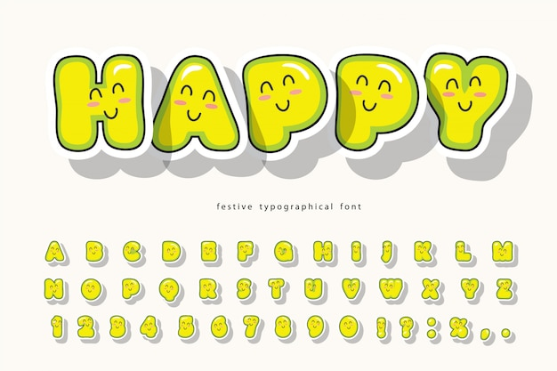 Kawaii bubble lettertype. leuk alfabet.