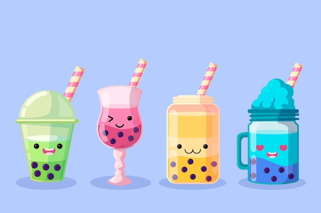 Kawaii bubble tea illustratie