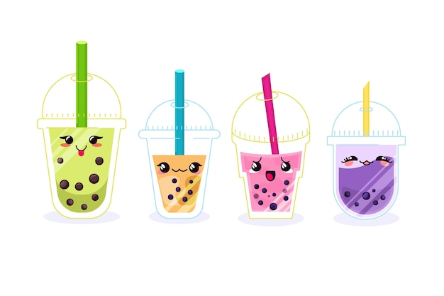 Kawaii bubble tea illustratie
