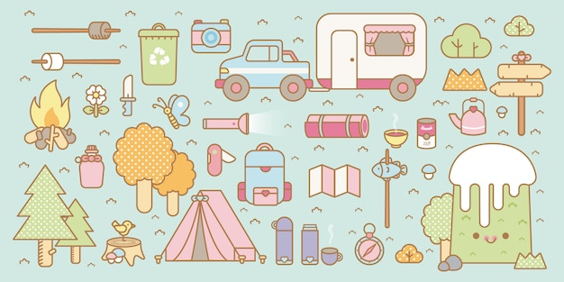 Kawaii camping set