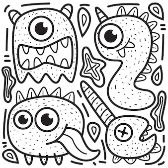 Kawaii cartoon doodle ontwerp kleuren monsters illustratie