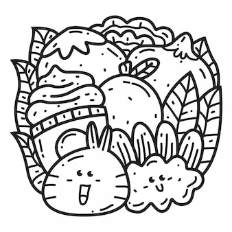 Kawaii cartoon doodle ontwerpsjabloon