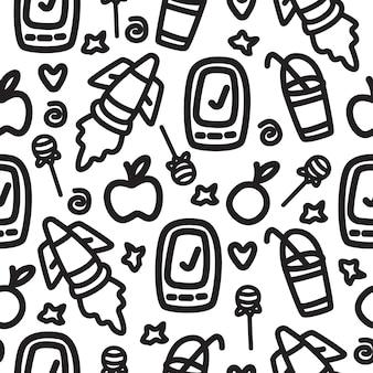 Kawaii cartoon doodle patroon