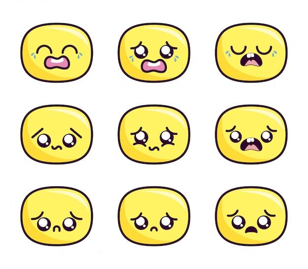 Kawaii cartoon gezicht pictogrammenset binnen ovalen