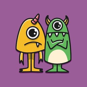 Kawaii cartoon monster doodle illustratie