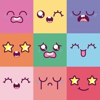 Kawaii cartoons veelkleurig emoticon decor vector ontwerp