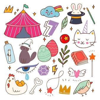 Kawaii circus verwant object doodle vectorillustratie
