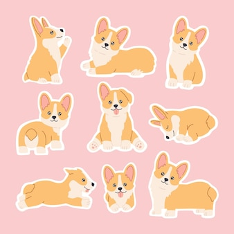 Kawaii corgi stickers set