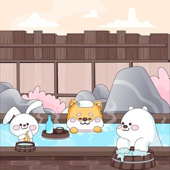 Kawaii dieren die een bad nemen in onsen