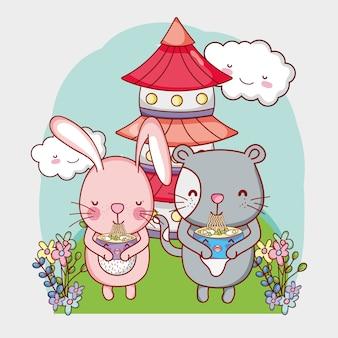 Kawaii dieren en japans eten