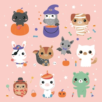 Kawaii dieren gekleed in halloween kostuums