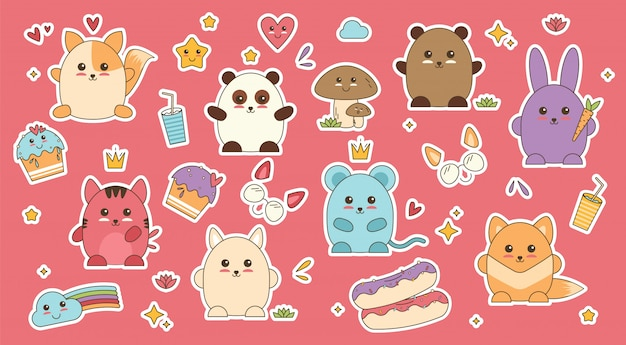 Kawaii dieren patch sticker