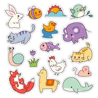 Kawaii dieren sticker set geïsoleerd op een witte achtergrond