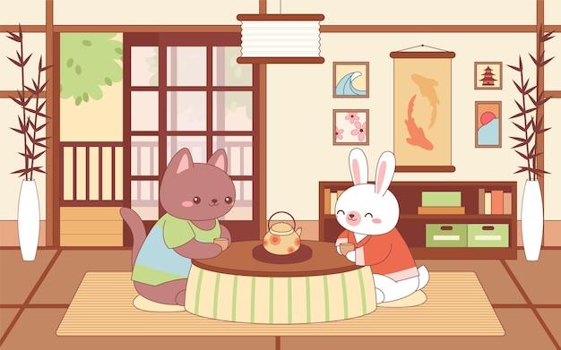 Kawaii dieren zitten in de woonkamer