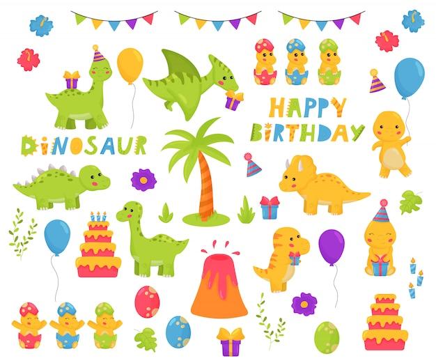 Kawaii dinosaurussen cartoon tekenset. verjaardagsthema. gelukkige verjaardag belettering kinderachtige illustratie voor kinderdagverblijf.