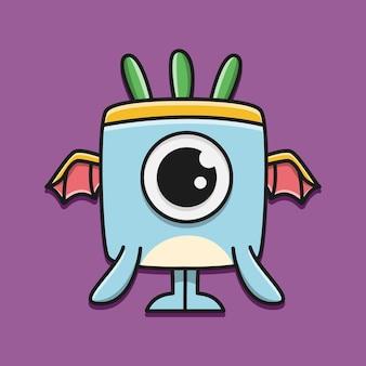 Kawaii doodle cartoon karakter monster ontwerp illustratie
