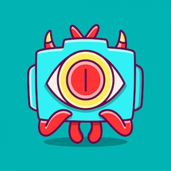 Kawaii doodle cartoon monster camera sjabloon