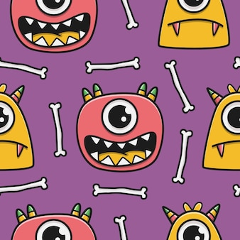 Kawaii doodle cartoon monsters patroon
