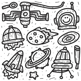 Kawaii doodle cartoon ruimte ontwerpsjabloon