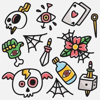 Kawaii doodle cartoon tattoo ontwerpen illustratie