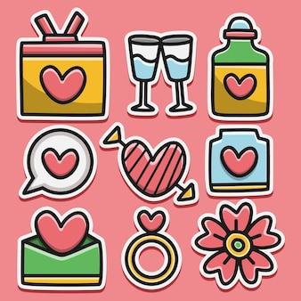 Kawaii doodle cartoon valentin sticker ontwerp illustratie