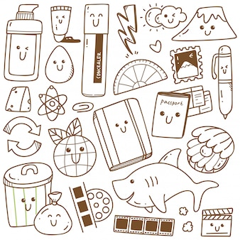 Kawaii doodle collectie lijntekeningen, geschikt om in te kleuren