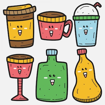 Kawaii doodle drankje sjabloon