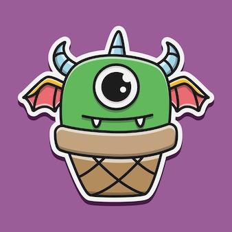 Kawaii doodle monster karakter illustratie