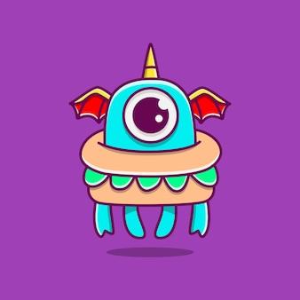 Kawaii doodle monster stripfiguur