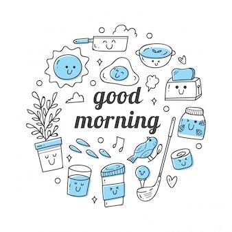 Kawaii doodle set met citaten