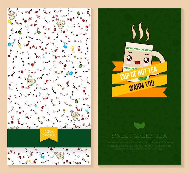 Kawaii dubbelzijdige brochure folder voor fast food