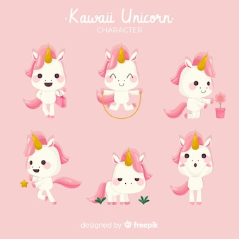 Kawaii eenhoorn karakter collectie