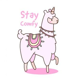 Kawaii eenhoorn lama met citaat illustratie