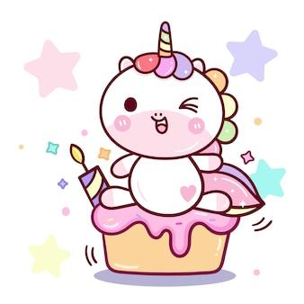 Kawaii eenhoorn vector verjaardagsfeestje
