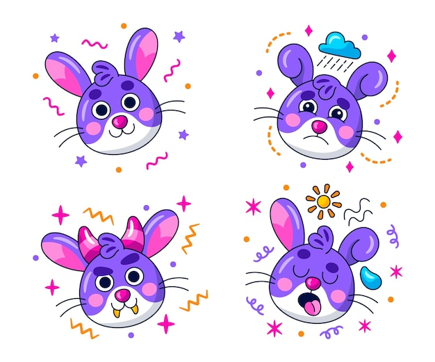 Kawaii emoticons stickers collectie