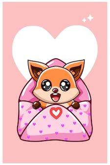 Kawaii en grappige vos i de liefdesenvelop bij de valentijnscartoon