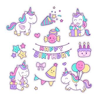 Kawaii en leuke verjaardag eenhoorns sticker clipart set