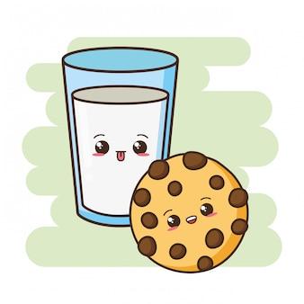 Kawaii fastfood schattig koekje en melk illustratie