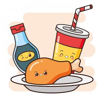 Kawaii fastfood schattige gebakken kip, drankje en saus