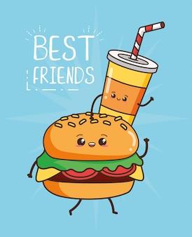 Kawaii fastfood schattige hamburger en drankje illustratie