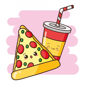 Kawaii fastfood schattige pizza en drinken illustratie