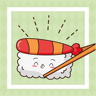 Kawaii fastfood sushi schattig eten illustratie